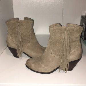 Sam Edelman taupe fringe leather booties sz 6 1/2